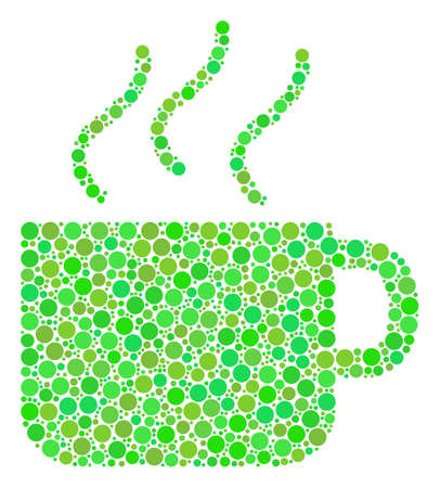 Coffee Cup mosaic of filled circles in various sizes and eco green color tints. Raster round dots are organized into coffee cup mosaic. Eco design concept.