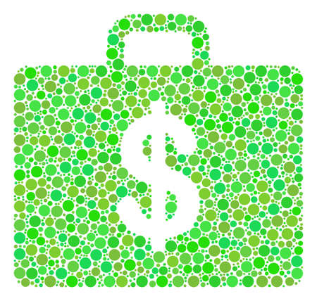 Business Case mosaic of dots in different sizes and fresh green color tints. Raster round elements are composed into business case illustration. Ecology design concept.