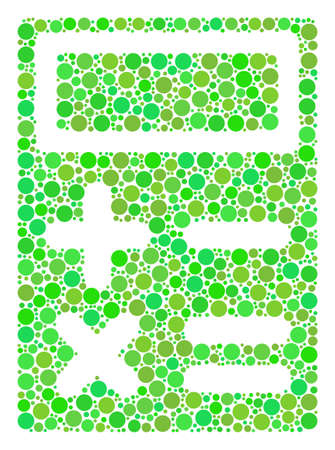 Calculator collage of dots in variable sizes and fresh green shades. Raster round dots are composed into calculator collage. Ecological design concept. Фото со стока