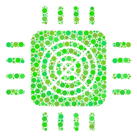 Asic Processor collage of dots in various sizes and fresh green color hues. Raster round elements are composed into asic processor illustration. Ecological design concept.