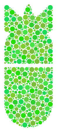Aviation Bomb collage of dots in various sizes and eco green color tinges. Raster round dots are combined into aviation bomb composition. Fresh raster illustration. Stock Photo