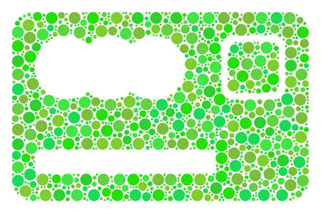 Banking Card composition of filled circles in various sizes and eco green color tints. Raster round elements are composed into banking card mosaic. Ecology raster illustration. Stock Photo