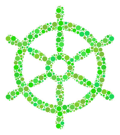 Boat Steering Wheel composition of circle elements in different sizes and green color tinges. Raster dots are united into boat steering wheel mosaic. Fresh raster illustration.