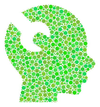 Brain Wrench Tool composition of dots in different sizes and fresh green color hues. Raster dots are combined into brain wrench tool collage. Ecology design concept. Stock Photo