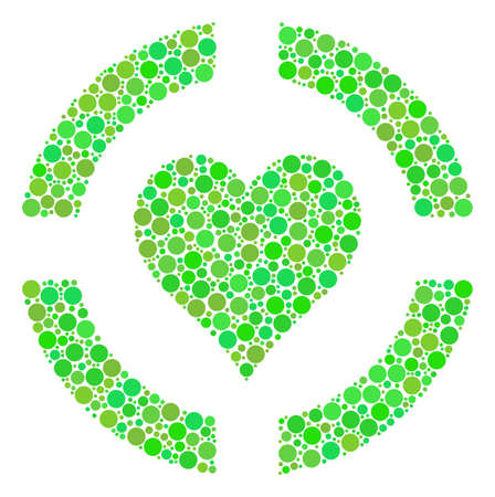 Casino Hearts collage of circle elements in various sizes and eco green color hues. Raster dots are composed into casino hearts composition. Organic raster illustration.