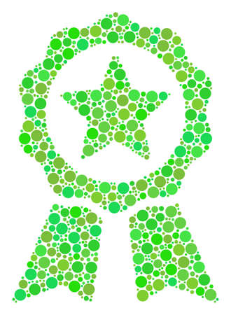 Certificate Seal mosaic of filled circles in variable sizes and green color hues. Raster round elements are grouped into certificate seal mosaic. Organic raster illustration. Stock Photo