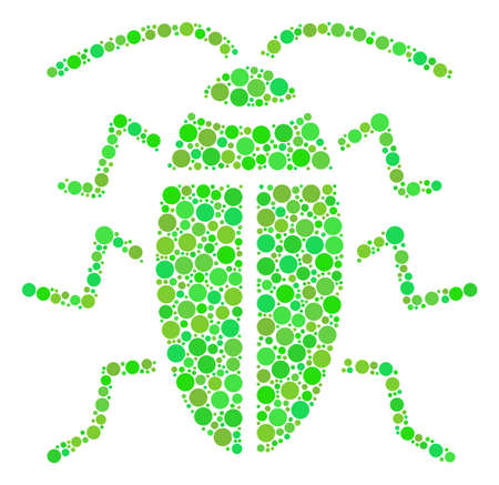 Cockroach mosaic of circle elements in various sizes and ecological green color tones. Raster round elements are grouped into cockroach composition. Ecological raster illustration.