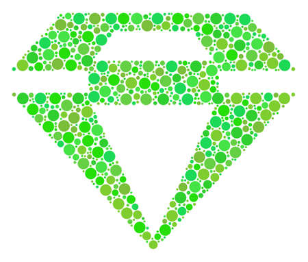 Diamond mosaic of dots in different sizes and eco green color tones. Raster dots are organized into diamond collage. Eco raster illustration.