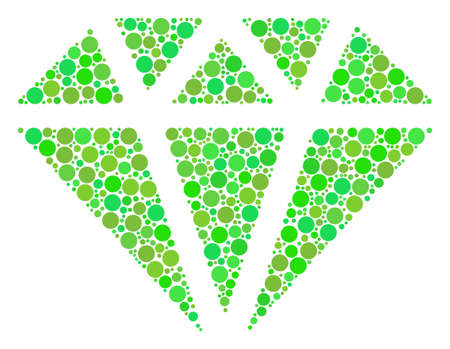 Diamond composition of dots in different sizes and green color tones. Raster filled circles are composed into diamond collage. Ecology raster illustration. Stock Photo