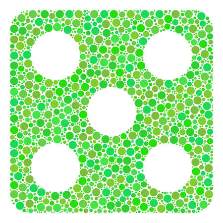 Dice mosaic of circle elements in variable sizes and fresh green color tints. Raster circle elements are organized into dice illustration. Eco design concept. Stock Photo