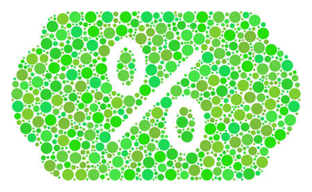 Discount Tag composition of filled circles in different sizes and fresh green color tints. Raster filled circles are composed into discount tag illustration. Fresh raster illustration. Stock Photo