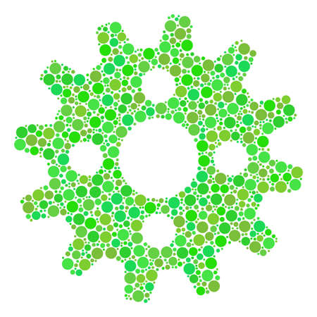 Cogwheel composition of dots in different sizes and ecological green color tones. Raster round dots are composed into cogwheel mosaic. Fresh raster illustration.