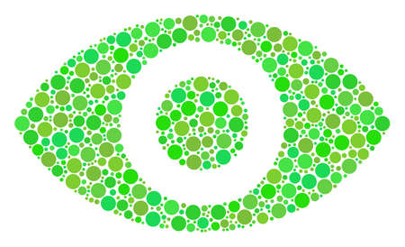 Eye collage of dots in various sizes and eco green shades. Raster round dots are combined into eye illustration. Freshness raster illustration.