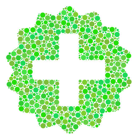 Create composition of filled circles in different sizes and fresh green color tones. Raster round dots are grouped into create illustration. Fresh raster illustration. Stock Photo