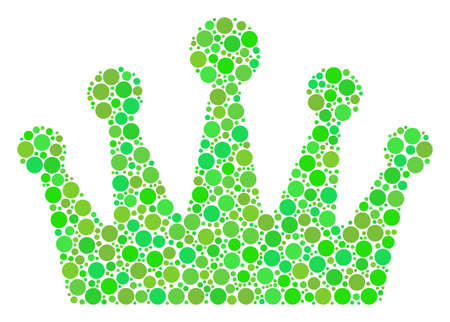 Crown collage of filled circles in variable sizes and ecological green shades. Raster round dots are grouped into crown illustration. Ecology raster illustration. Stock Photo