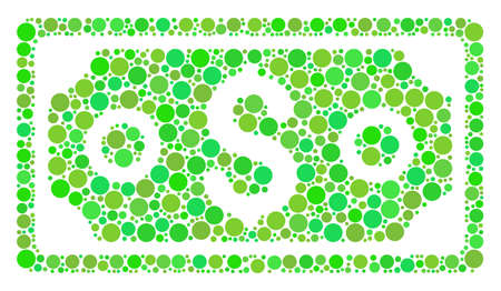 Dollar Banknote collage of dots in variable sizes and eco green color tones. Raster round dots are combined into dollar banknote illustration. Organic raster illustration.