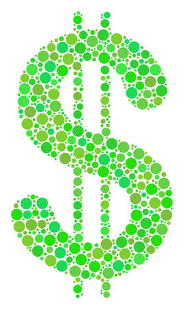 Dollar collage of filled circles in various sizes and ecological green color tints. Raster circle elements are united into dollar composition. Ecological raster illustration.