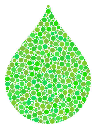 Drop composition of circle elements in various sizes and eco green color tints. Raster round dots are organized into drop illustration. Eco design concept.