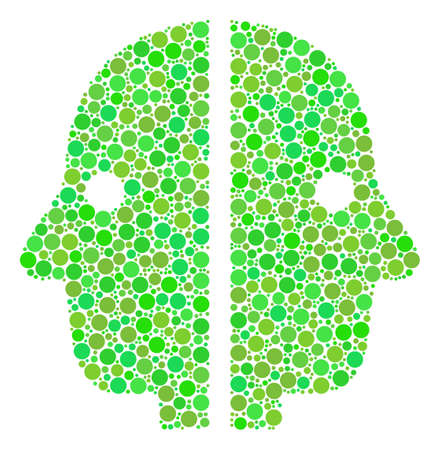 Dual Face composition of filled circles in variable sizes and fresh green color tinges. Raster round dots are grouped into dual face collage. Freshness raster illustration. Stock Photo