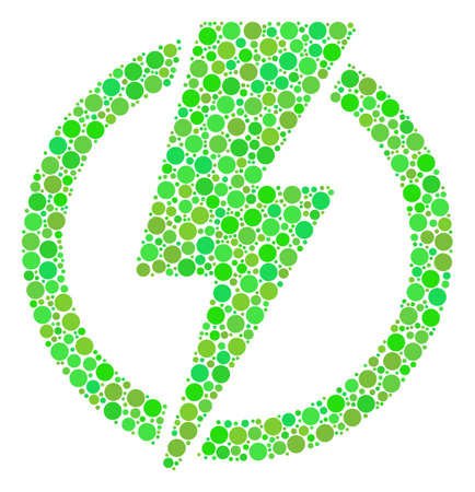 Electricity collage of filled circles in various sizes and ecological green color hues. Raster round dots are combined into electricity collage. Freshness raster illustration.