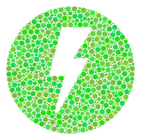 Electricity collage of filled circles in different sizes and ecological green shades. Raster round dots are combined into electricity collage. Fresh raster illustration.