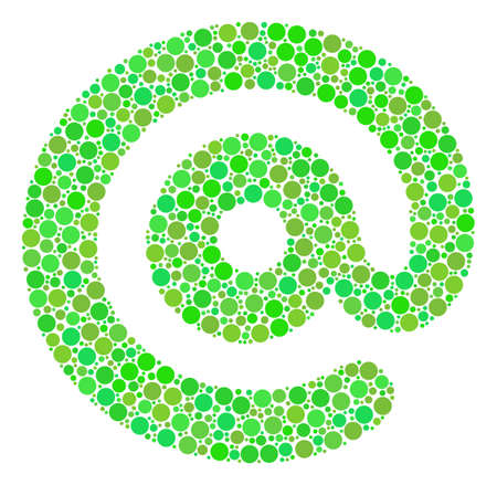 Email Symbol collage of dots in various sizes and green color tints. Raster round dots are grouped into email symbol illustration. Ecological design concept.