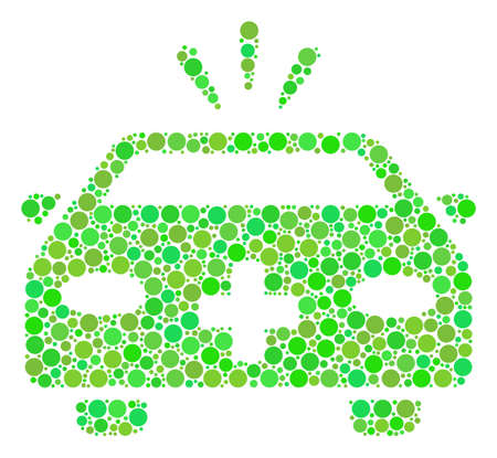 Emergency Car mosaic of dots in different sizes and green color tinges. Raster circle elements are united into emergency car mosaic. Ecological design concept.