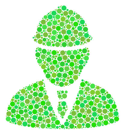 Engineer collage of dots in various sizes and fresh green shades. Raster circle elements are composed into engineer mosaic. Organic design concept. Stock Photo