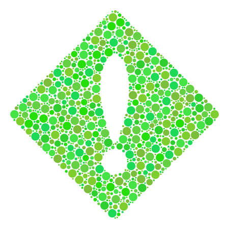 Error collage of filled circles in variable sizes and ecological green color tinges. Raster filled circles are grouped into error mosaic. Freshness raster illustration.