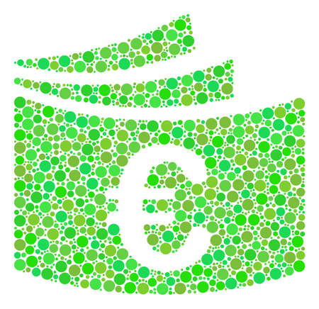 Euro Checkbook mosaic of circle elements in various sizes and green color tints. Raster round dots are grouped into euro checkbook composition. Ecology raster illustration.