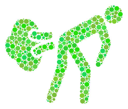 Fart Gases composition of filled circles in various sizes and ecological green color tones. Raster round dots are combined into fart gases illustration. Freshness raster illustration. Stock fotó