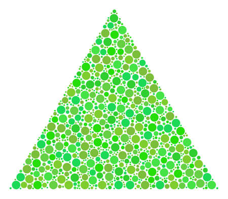 Filled Triangle composition of filled circles in different sizes and fresh green color tones. Raster filled circles are grouped into filled triangle illustration. Fresh raster illustration.