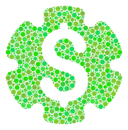 Financial Settings Gear collage of filled circles in different sizes and eco green color tints. Raster dots are grouped into financial settings gear composition. Freshness raster illustration. Stock Photo