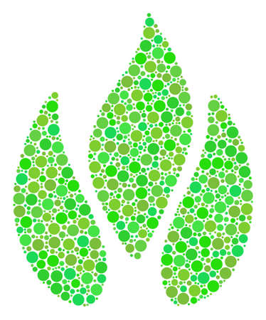 Fire mosaic of filled circles in different sizes and ecological green color hues. Raster round dots are organized into fire mosaic. Ecological raster illustration.
