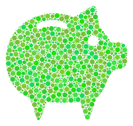 Piggy Bank mosaic of filled circles in different sizes and fresh green shades. Raster round dots are united into piggy bank composition. Eco raster illustration. Stock Photo