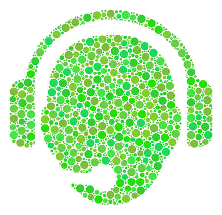 Operator Head collage of circle elements in variable sizes and green shades. Raster dots are organized into operator head illustration. Ecology raster illustration. Stock Photo