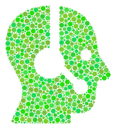 Operator composition of dots in various sizes and fresh green color tinges. Raster filled circles are combined into operator mosaic. Eco raster illustration.