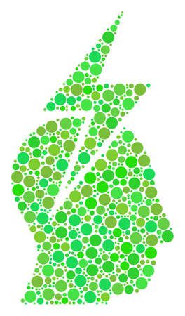 Person Stress Strike mosaic of dots in different sizes and ecological green color hues. Raster round elements are united into person stress strike illustration. Freshness raster illustration. Фото со стока