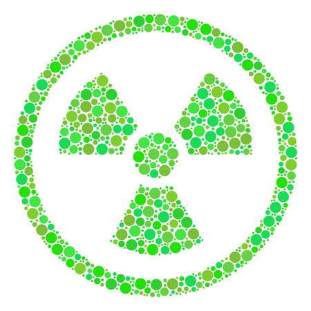 Radioactive composition of circle elements in variable sizes and green color tinges. Raster round dots are united into radioactive collage. Ecology raster illustration.