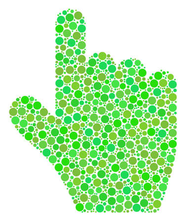 Pointer Finger mosaic of circle elements in variable sizes and eco green shades. Raster filled circles are grouped into pointer finger illustration. Ecology raster illustration.