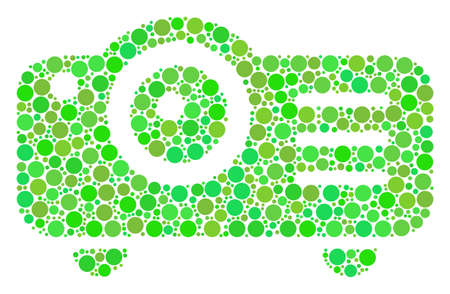 Projector collage of dots in various sizes and fresh green color tints. Raster filled circles are united into projector composition. Fresh raster illustration. Stock Photo
