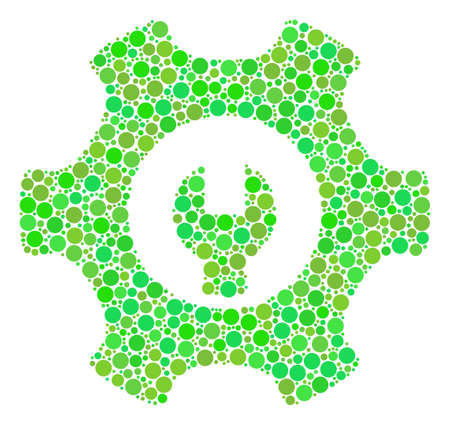 Service Tools collage of dots in variable sizes and eco green color tints. Raster round dots are united into service tools mosaic. Ecological raster illustration.