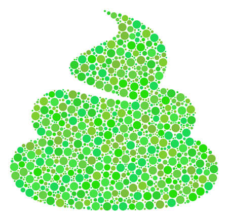 Shit composition of dots in various sizes and ecological green shades. Raster filled circles are organized into shit mosaic. Ecological design concept.