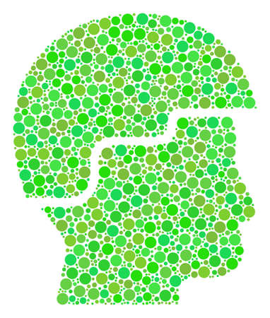 Soldier Helmet mosaic of filled circles in variable sizes and green color tones. Raster round elements are grouped into soldier helmet illustration. Freshness raster illustration.