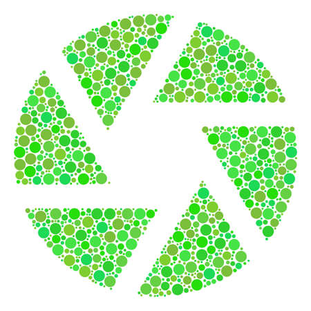 Shutter mosaic of filled circles in different sizes and fresh green color hues. Raster circle elements are grouped into shutter composition. Freshness raster illustration.