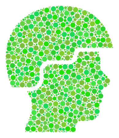 Soldier Helmet collage of dots in variable sizes and green color tints. Raster filled circles are grouped into soldier helmet composition. Ecology design concept.