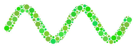Sinusoid Wave composition of filled circles in various sizes and eco green color hues. Raster circle elements are united into sinusoid wave illustration. Freshness design concept.