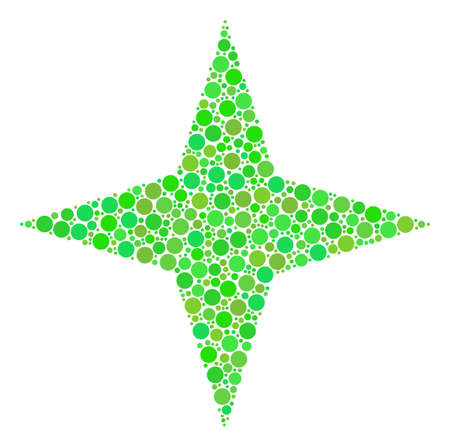 Space Star collage of dots in various sizes and ecological green color tints. Raster filled circles are composed into space star illustration. Fresh raster illustration. Stock Photo