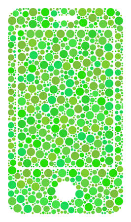 Smartphone composition of filled circles in different sizes and ecological green color tinges. Raster circle elements are grouped into smartphone illustration. Fresh design concept.
