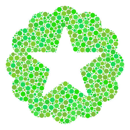 Quality composition of dots in different sizes and eco green shades. Raster filled circles are composed into quality collage. Freshness raster illustration.